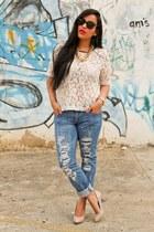 Roxy jeans - Ray Ban sunglasses - Forever21 blouse - Finzi flats - Guess watch