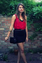 red warehouse top - black Faith bag - black H&M skirt