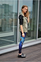 navy galaxy Jaracz Stuff leggings - black spikes Papilion boots