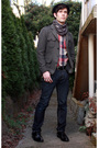 Black-h-m-hat-gray-h-m-jacket-red-urban-outfitters-top-gray-gift-scarf-b