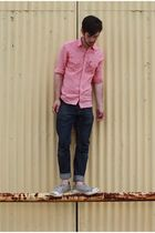 red BDG shirt - blue Levis jeans - gray Converse shoes - brown J Crew belt