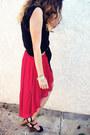 Red-forever21-skirt-black-shirt-black-wedges