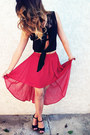 Black-shirt-red-forever21-skirt-black-wedges