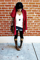 tan Steve Madden boots - ruby red Mossimo sweater
