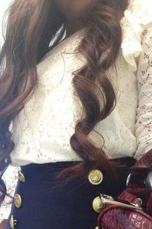 beige blouse - brick red Steve Madden bag - navy Forever 21 skirt
