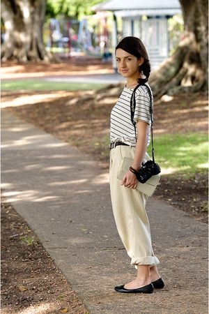 beige bonds pants - white supre shirt - brown belt - white purse - black shoes