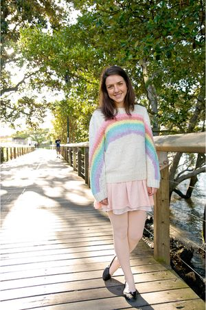 white sweater - pink dress - pink We Love Colors tights