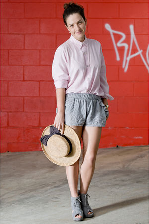 gray Jeffrey Campbell shoes - beige vintage hat - gray supre shorts - pink vinta