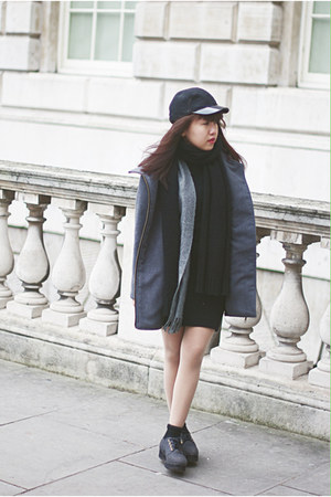 black Monki hat - charcoal gray River Island shoes - heather gray tailored coat