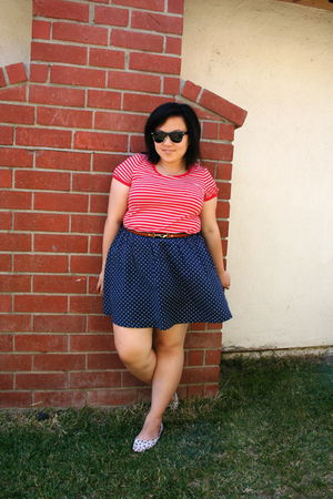 red Forever 21 t-shirt - blue cotton on skirt - white cotton on shoes