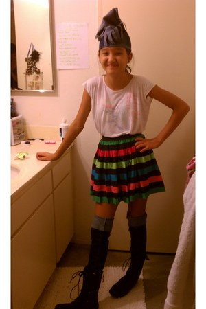 muti-color H&M skirt skirt - black combat boots boots