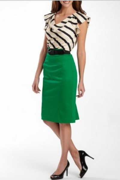 green belted skirt Worthington shirt