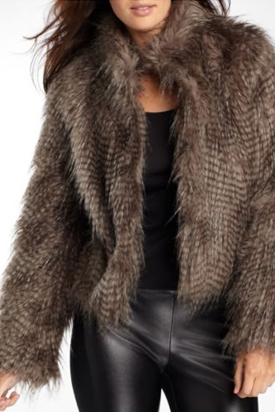 dark gray faux fur Allen B coat