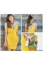 yellow SACHIKA dress - mirrored zeroUV sunglasses - strappy Zara heels