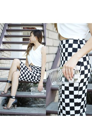 checkered Forever 21 skirt - lucite Luna Boutique bag - Aldo heels