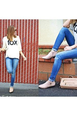 graphic tee Wildfox top - flat ami clubwear boots - denim dittos jeans
