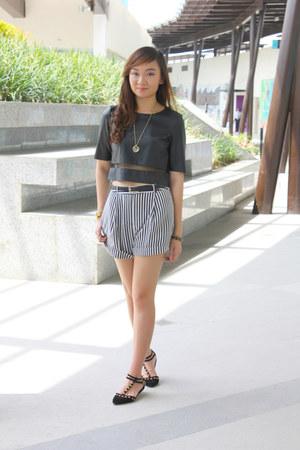 black Forever21 shorts - black Topshop top