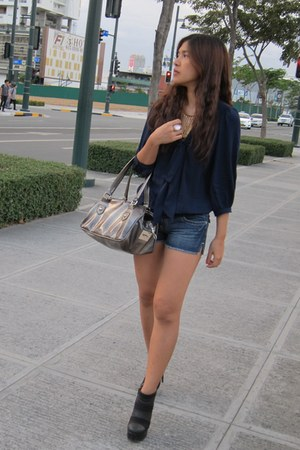 Charles & Keith boots - Mango bag - denim Jag shorts - sheer Zara top