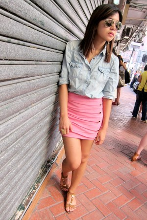 pink WYSTERIA skirt - brown suede Charles & Keith sandals - denim cotton on top