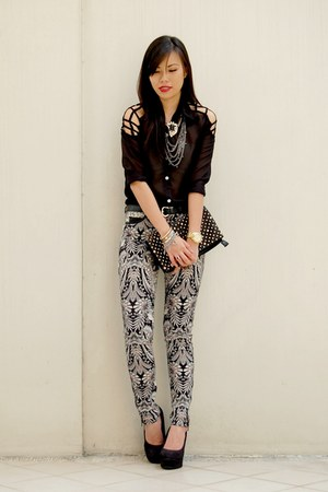 black printed TRF pants