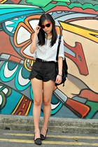 black overlap shopabcd shorts