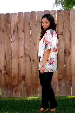 Forever 21 blouse - blue dl1961 jeans - brown Jeffrey Campbell clogs