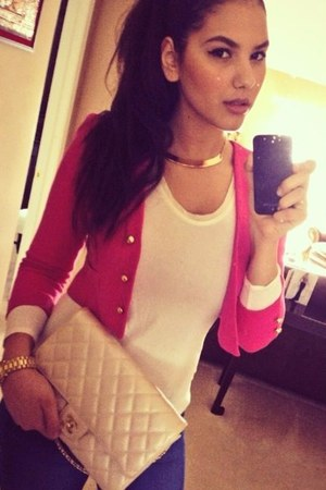 neutral Chanel bag - ivory banana republic sweater - hot pink Lands End blazer
