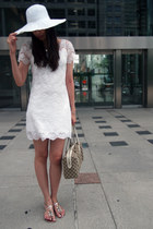 white lace Forever 21 dress - white the bay hat - tan Gucci bag