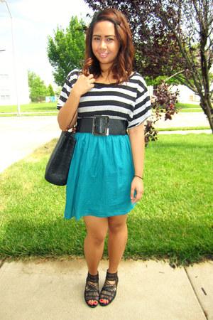 turquoise blue random dress - black Walmart shirt - black thrifted bag - black r