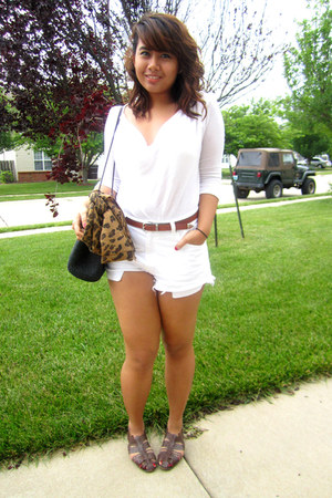 black Thrift Store bag - white diy Levis shorts - tawny Thrift Store belt - dark
