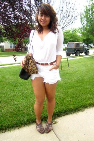 black Thrift Store bag - white diy Levis shorts - tawny Thrift Store belt - dark