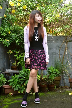 hot pink Hong Kong skirt - light pink Mango cardigan - black Zara top