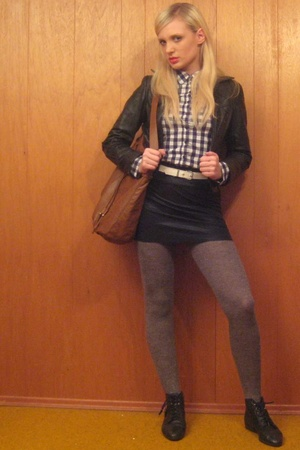 H&M shirt - American Apparel skirt - vintage jacket - wal-mart tights - vintage