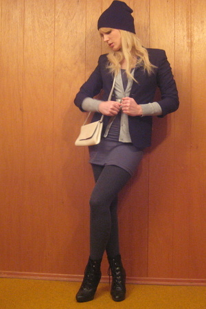 vintage blazer - H&amp;M sweater - American Apparel dress - tights - payless shoes -