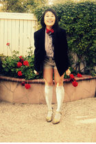 black Pendleton blazer - blue Tommy Hilfiger shirt - gold Mudd shoes - blue sock