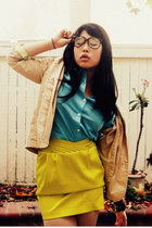 vintage blazer - button up Old Navy shirt - silk Arden B skirt