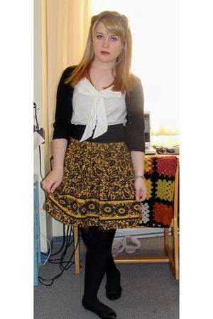 gold bryans skirt - black le chateau cardigan - white H&amp;M blouse