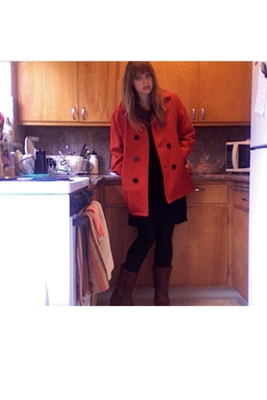 Landsend coat - H&M dress - Frye shoes