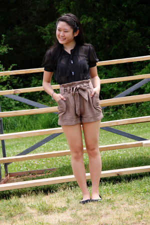 black Urban Outfitters blouse - beige H&M shorts - black Urban Outfitters shoes