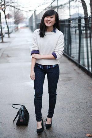 white Topshop sweater - navy Level 99 USA jeans - black drew Free Endearment bag