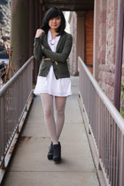 white HUE tights - dark gray Blowfish Shoes boots - white Urban Outfitters dress