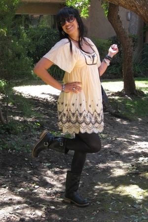 forever 21 dress - American Apparel leggings - boots