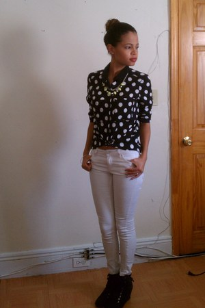 white H&M jeans - polka dot H&M shirt - wedges GoJane sneakers