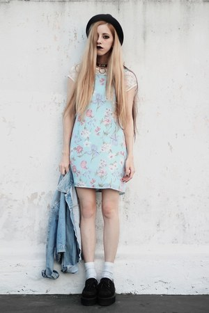 light blue floral thrifted dress - light blue denim old jacket