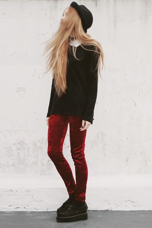 black made by me sweater - crimson made by me leggings