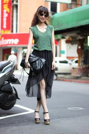 black skirt - dark green shirt