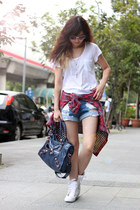 red shirt - navy balenciaga bag - white Jeffrey Campbell sneakers
