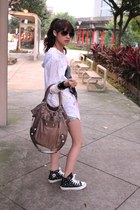 dark khaki bag - black Converse shoes - white top