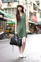 army green dress - black balenciaga bag