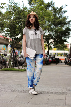 white H&M bag - heather gray Zara top - blue SANDRO pants